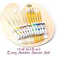 Daveliou Acrylic Paint Art Set – 25 Pieces – Kit comprises Wooden Palette - 12 Brushes - 12 Acrylics Non-Toxic Paints