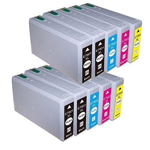 10 Cartucce compatibile per Epson con CHIP BL-T7901 BL-T7902 BL-T7903 BL-T7904 (4x nero + 2x ciano + 2x magenta + 2x giallo) WF-5620DWF / WF-5110DW / WF-5690DWF / WF-5190DW / WF-4630DWF / WF-4640DTWF