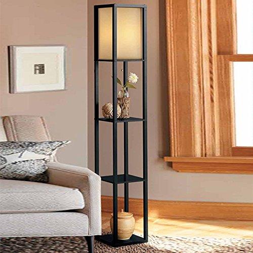 KKGInnenbeleuchtung 1.6m Holzstehlampe LED mit Regale für das Schlafzimmer Wohnzimmer (Schwarz)