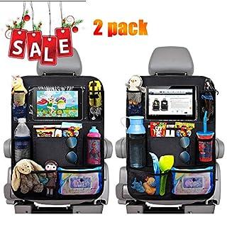 Auto Rückenlehnenschutz, EFULL-2 Stück Auto Rücksitz Organizer für Kinder, 9 Aufbewahrungstaschen und iPad-/Tablet-Fach, Wasserdicht Autositzschoner, Kick-Matten-Schutz für Autositz