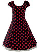 50's Retro Collar Dress Big Polka Dot Black & Red