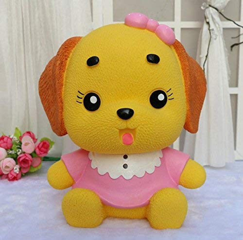 MMING Home Dress Puppy Piggy Bank Home Decoration Geburtstagsgeschenk (Rosa Kleidung Yellow Dog) Desktop Dekor Spardose -