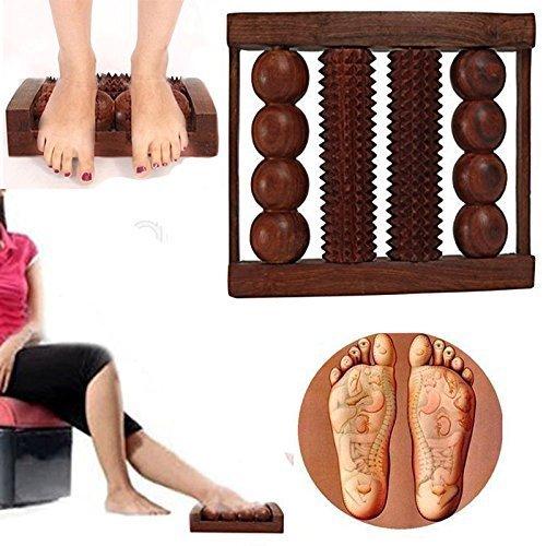 WhopperIndia Masseur De Pied En Bois Double Rouleau De Massage En Bois Soulagement Du Stress Douleur Corps Corps Pied Détendre 4 Rouleaux