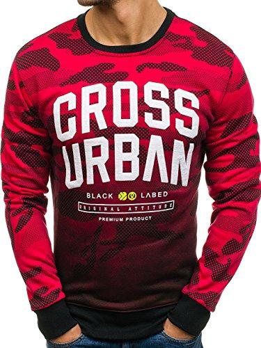 BOLF Herren Sweatshirt ohne Kapuze mit Motiv Sportlicher Stil J.Style DD157 Rot XXL [1A1]