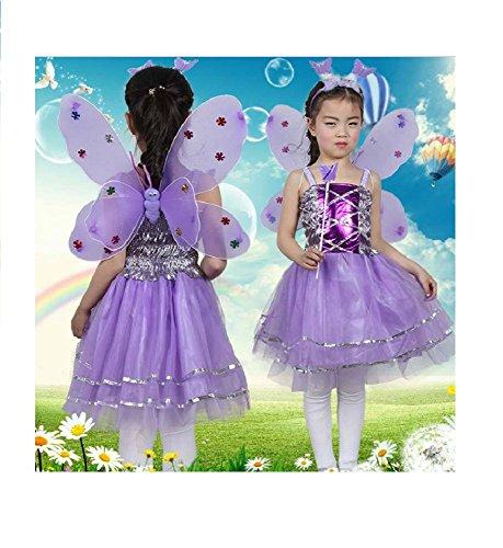 Matissa Kinder Mädchen 4 Stück Komplette Schmetterling Kostüm Set Fee Schmetterlingsflügel Alice Stirnband Tutu Kleid und Zauberstab (Lila)