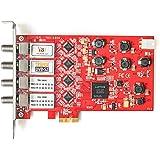 TBS6904 Quad Tuner DVB-S/S2 PCIe Card, Carte Tuner TV PCIe Satellite DVB-S/S2 Quatre Tuners