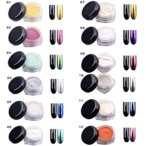 12 Farben 2g/Box Nagel Glitzerpuder, Glitter Magic Spiegel Chrom Effekt Nagel Art Pulver