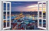 Istanbul Türkei Skyline Wandtattoo Wandsticker Wandaufkleber F1032 Größe 100 cm x 150 cm