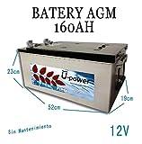wccsolar.es Bateria AGM monoblock U-Power 160AH 12v Battery Solar con Terminales