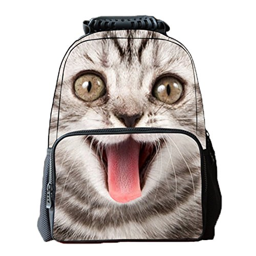 Ohmais 3D Tier Rücksack Rucksäcke Backpack Daypack Schulranzen Schulrucksack Wanderrucksack Schultasche Rucksack für Schülerin Katze3