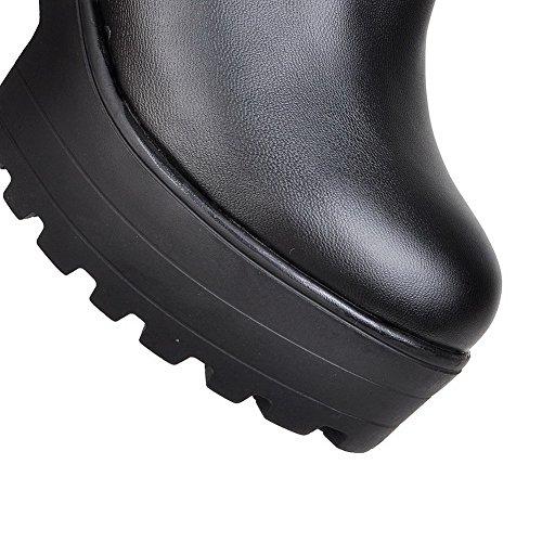 Voguezone009 Femmes Taille Haute Pull À Talons Hauts Bout Rond Bottes Noires