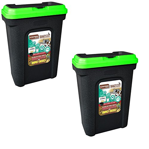 2 XPET FOOD STORAGE CONTAINER BLACK. HOLDS 15.5KG. GREEN LID. RUBBER SEAL.