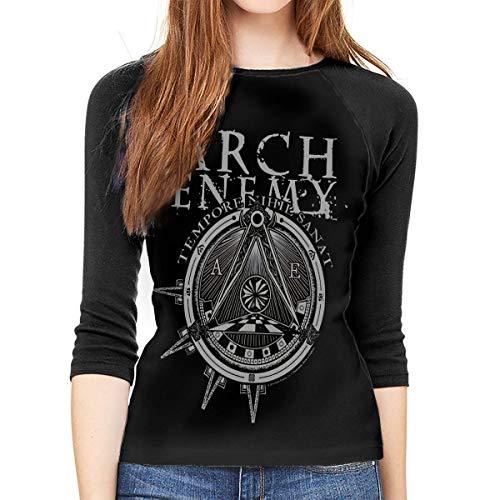 Henrnt Arch Enemy Shirt Teen Girl Damen Raglan Bluse 3/4 Arm T-Shirt Bluse Top Round Neck T-Shirt Baseball Shirt