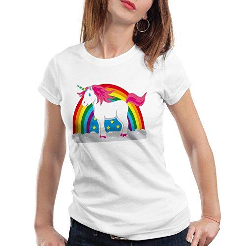 style3 Einhorn Damen T-Shirt Regenbogen Unicorn, Größe:S