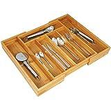 axentia 116668 Besteckkasten, Schubladeneinsatz ausziehbar für Besteck, Bambus Holz, braun, 48,5 x 37 x 5,3 cm