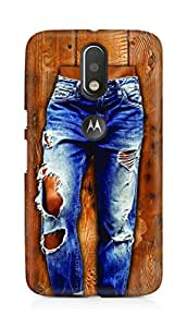 Amez designer printed 3d premium high quality back case cover for Motorola Moto G4 (Girl in stylish torn Jeans on wooden Texture)