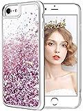 wlooo Cover per iPhone 6/6s/7/8, iPhone 8 Cover, Cover iPhone 7, Glitter Bling Liquido Custodia Sparkly Luccichio TPU Silicone Protettivo Morbido Brillantini Quicksand Case (Oro Rosa)