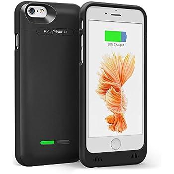 Coque Batterie iPhone 6s 3000mAh RAVPower, Coque d'Alimentation et Protection pour iPhone 6s / 6, 125% d'Extension de Batterie de Secours Rechargeable, Certifié par MFi Apple, Ultra Compacte et Légère