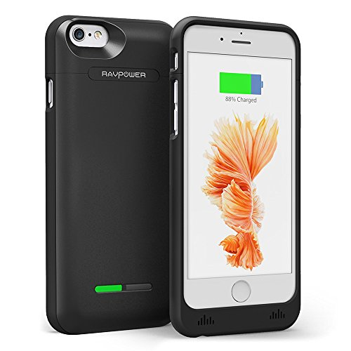 RAVPower Custodia Batteria Protettiva per iPhone 6 / 6S da 3000mAh (150% Batteria Extra, Certificato MFi, 2-Piece Sliding Design, Leggero e Compatto, 18 mesi di Garanzia)