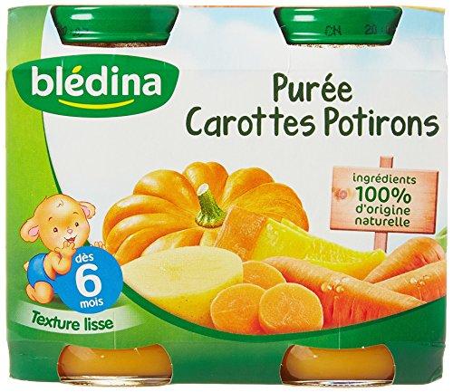 Blédina Purée Carotte Potiron 2 x 200 g - Lot de 4