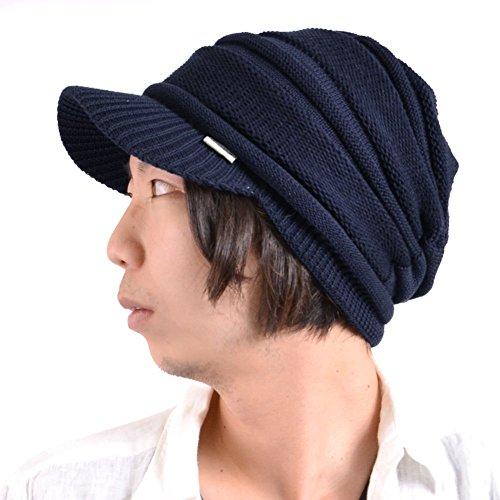 Casualbox Homme pointe chapeau bonnet tricoter chapeau hiver chaud tombant bouffant unisexe bleu
