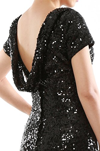 MACloth Mermaid Cap Sleeves Sequin Long Bridesmaid Formal Dress Evening Gown Black