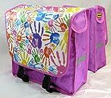 Fahrradtasche lila Motiv: Hände - Doppel Packtasche