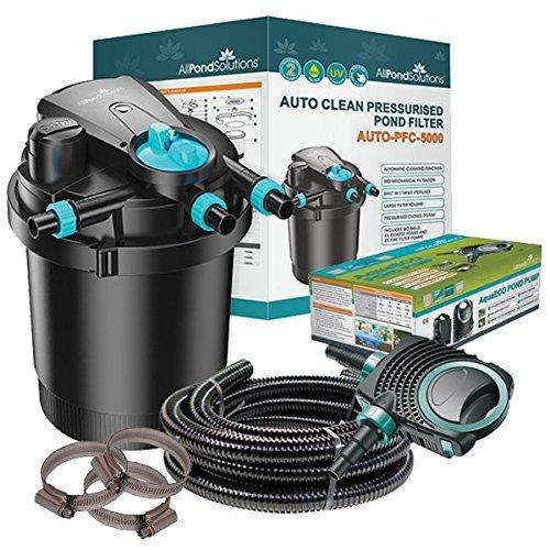 Kit de filtration pour bassin koi avec filtre sous pression auto-nettoyant et stérilisateur UV AUTO-PFC-5000 Kit
