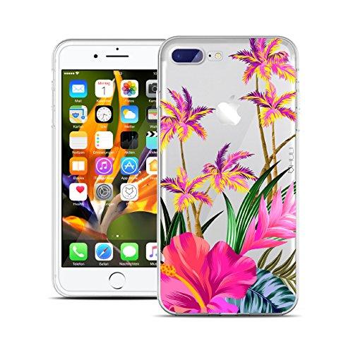 HULI Design Case Hülle für Apple iPhone 8 Plus Smartphone mit Blumen Muster - Handy Schutzhülle klar aus Silikon mit tropischen Pflanzen Tropen Sommer Urlaub Paradies Flower - Handyhülle mit Druck