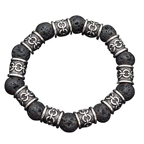 MCREE Viking nordischen Runen Natürliche schwarz vulkanischem Lava Steine Perlen Armband Schmuck 10mm Unisex Schmuck skandinavischen Kultur, 100Steine + 100Perlen silber (Bart Licht Voller)