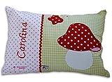 Glückspilz Namenskissen Babykissen I Fliegenpilz Pilz I mit Namen personalisiert I Geschenk zu Geburt, Taufe oder Geburtstag I Grün Rot