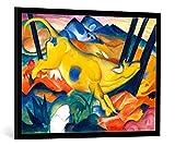 kunst für alle Bild mit Bilder-Rahmen: Franz Marc Die gelbe Kuh - dekorativer Kunstdruck, hochwertig gerahmt, 100x75 cm, Schwarz/Kante grau
