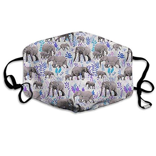 Daawqee Staubschutzmasken, Sweet Elephants in Grey Face Masks Breathable Dust Filter Masks Mouth Cover Masks Elastic Ear Loop
