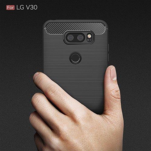 QULLOO LG V30/LG V35 ThinQ/LG V30 Plus/LG V30S/LG V30S ThinQ Hülle Schutzhülle, Schutzhülle Kohlenstoff-fasern Tasche Slim-Fit Case für LG V30/LG V30 Plus/LG V30S/LG V30S ThinQ/LG V35 ThinQ (Schwarz)