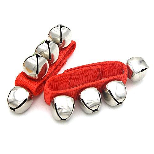 (Andoer® Ein Paar Metalle Klingeln Glocken Armbänder Handgelenk Tamburine mit Nylon Klettverschluss Schlaginstrumente für KTV Partys Kinder Spiel)