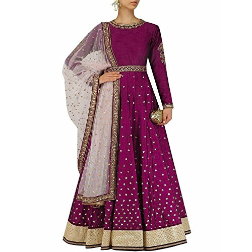 Globalia Creation Women's Special Party Wear Pink Color Cotton Silk Embroidery Anarkali...