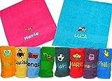 Kinder Handtuch hellblau 50x100cm mit Motiv und Namen bestickt Kinderhandtuch