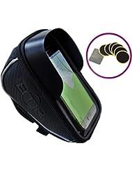 Bolsa de manillar para teléfono / GPS 2 en 1 DELUXE con parasol de BTR: ¡La excepcional bolsa de móvil para bici con la que nunca más volverá a perderse! Ahora con 6 parches para reparación de pinchazos GRATIS