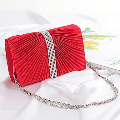 ZYT Frauen Abend Tasche-rosa/Gold/rot/Silber Red