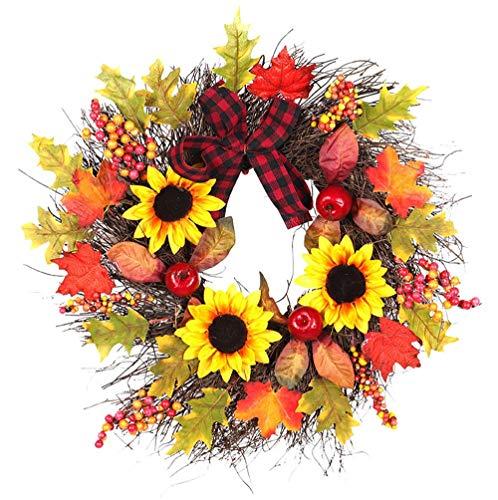 RALCAN 45 cm Weihnachtskranz Sonne Blume Ahorn Bogen Ahornblatt Herbst Dekoration Für Home Party Weihnachtsdekoration Geschenk Ornamente, 45 cm -