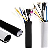 "59"" Neoprene Cable Management Sleeve, DIY Cable Organizer, Wire Hidden Concealer Protector, Black & White Cable Cord Organizer For PC, TV, Office, Home - Set Of 2"