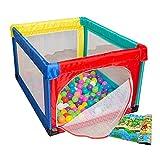WYJW Piccolo Box da Gioco con 100 Palline per Il Parco dei Bambini con Materasso Anti-rotolamento, Parco Giochi per Bambini
