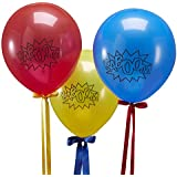 Ginger Ray Superhero Red, Blue & Yellow KABOOM Party Balloons x 10 - Comic Superhero