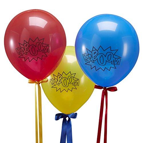 Ginger Ray Superheld Rot, Blau & Gelb Kaboom Party Ballons x 10 - Comic Superhelden