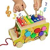 yoptote Xilofono Legno Bambini Gioco di Legno Strumento Giocattoli Musicali Auto Camion Giocattolo Forme in Legno per Bambini 3+ by YC TRADING.CO.,LTD