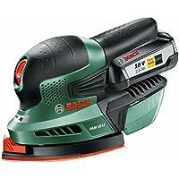 """Bosch Ponceuse Multifonction """"Expert"""" sans Fil PSM 18 Li, 1 Batterie 2,5 Ah, 3 Feuilles Abrasives, Technologie Syneon 06033A1303"""