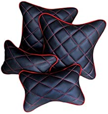 TOUCH Universal Double Quilted Combo Set, Car Cushion and Neck Rests (Black and Red, NRBC320) - Set of 4