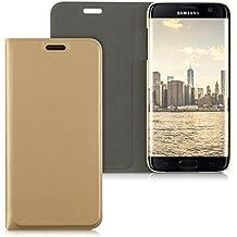 kwmobile Flip cover pour Samsung Galaxy S7 edge en doré avec revêtement en cuir synthétique et ouverture