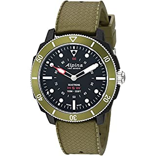 Alpina Men's 'Horological Smart' Quartz Stainless Steel and Rubber Sport Watch, Color:Green (Model: AL-282LBGR4V6)