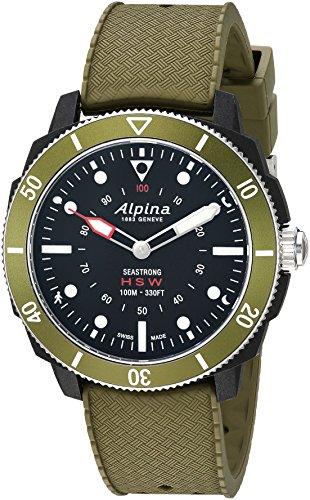 Alpina Men's 'Horological Smart' Quartz Stainless Steel and Rubber Sport Watch, Color:Green (Model: AL-282LBGR4V6)
